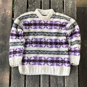 Vtg Rey Wear Handmade Wool Sweater Knit Ecuador